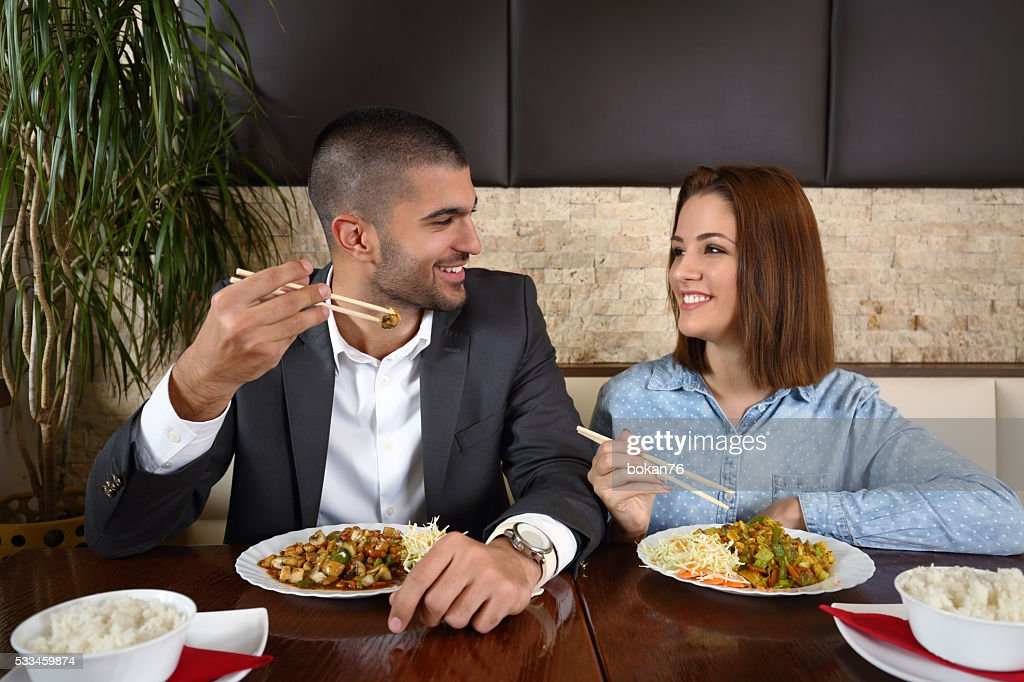 Couple Eating Chinese Food : Stock Photo