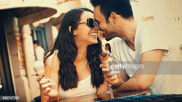 Couple eating ice cream.