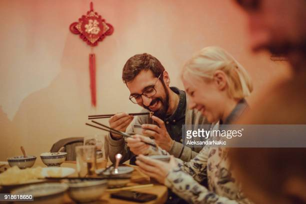 Couple eating in a Chinese restaurant
