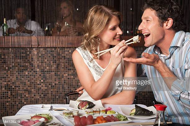 A couple eating on a date