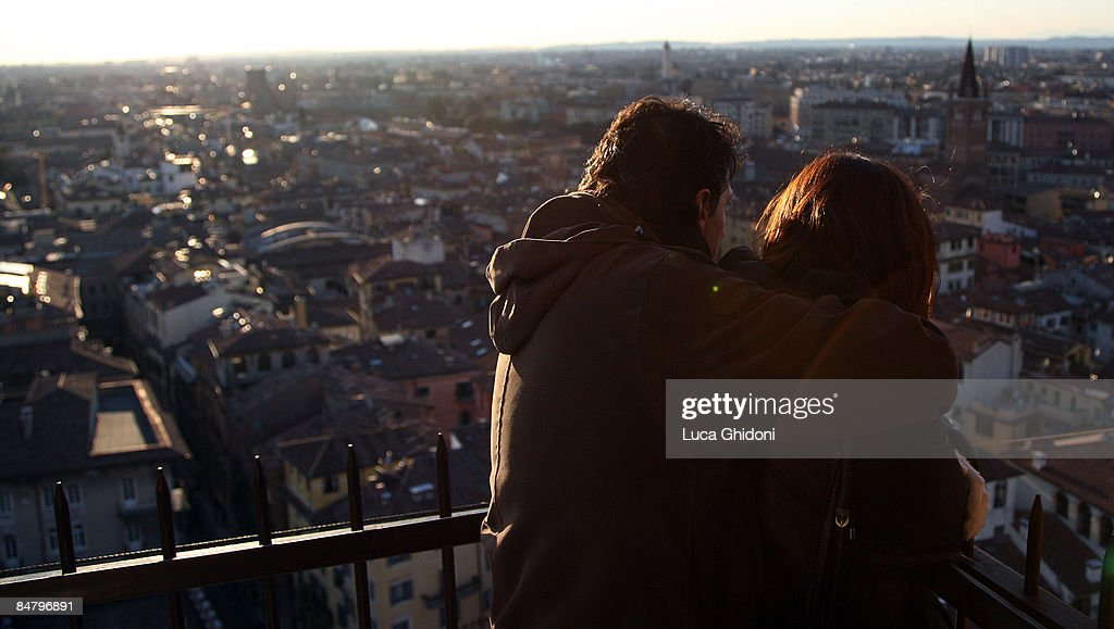 A Couple Embrace On St. Valentineu0027s Day On February 14, 2009 In Verona,
