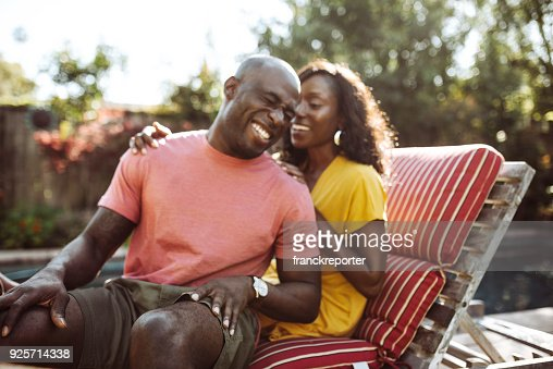 couple embracing in the patio outdoors