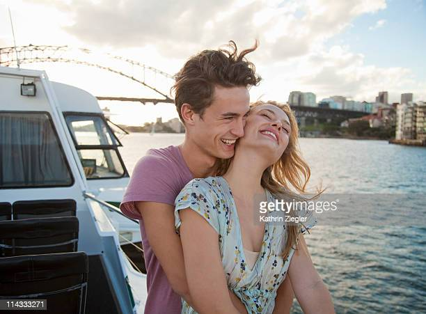 couple embracing on a ferry, Sydney Harbour