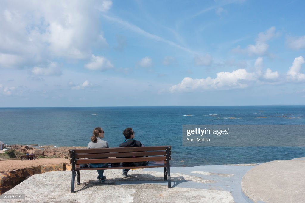 Overlooking The English Channel At La Corbiere In Jersey : News Photo