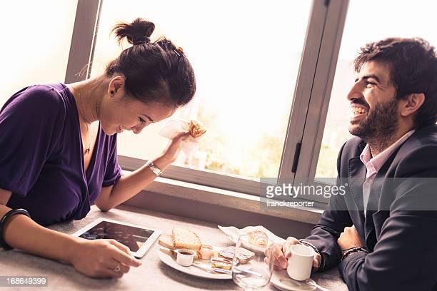Couple enjoying at breakfast