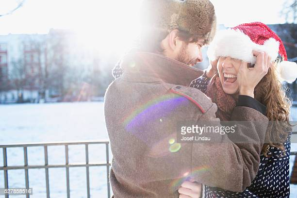 Couple enjoying christmas season