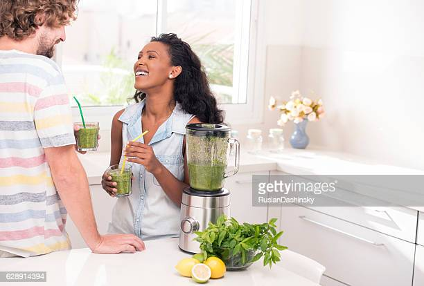 Couple enjoying fresh drink.