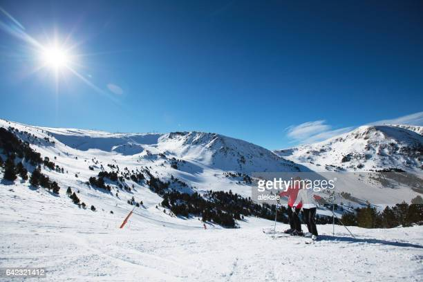 couple enjoying holidays - andorra stock pictures, royalty-free photos & images