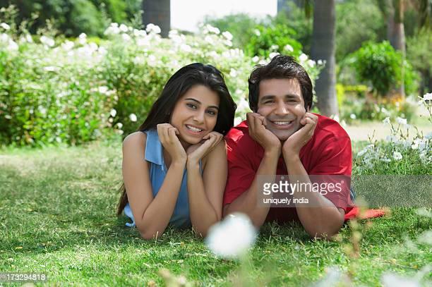 Couple enjoying in a park, Japanese Park, Rohini, Delhi, India