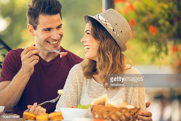 Couple enjoying lunch at a restaurant