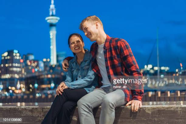 Couple enjoying outdoors in Auckland City.
