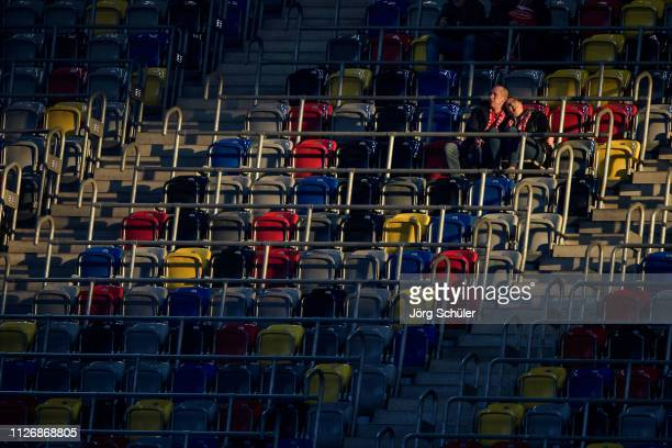 A couple enjoying the sun in the stadium prior the Bundesliga match between Fortuna Duesseldorf and 1 FC Nuernberg at the Merkur SpielArena on...