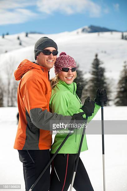 Couple Enjoys Back Country Skiing