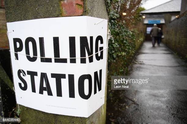 A couple enter a temporary polling station as voting gets underway in the Copeland byelection on February 23 2017 in Whitehaven England Traditionally...