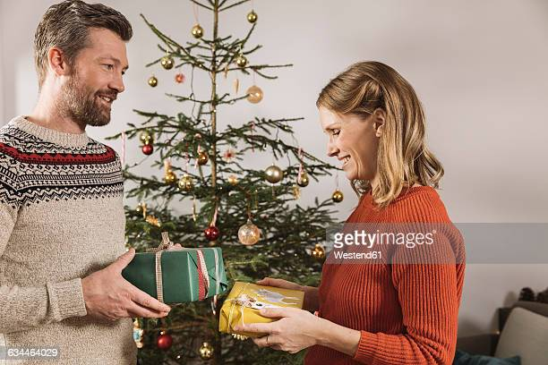 couple exchanging christmas gifts in front of tree - gift lounge stock-fotos und bilder