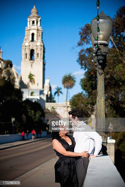 a couple explore balboa park in san diego - old town san diego stock pictures, royalty-free photos & images