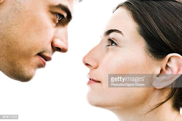 couple face to face, close-up - staring stock photos and pictures