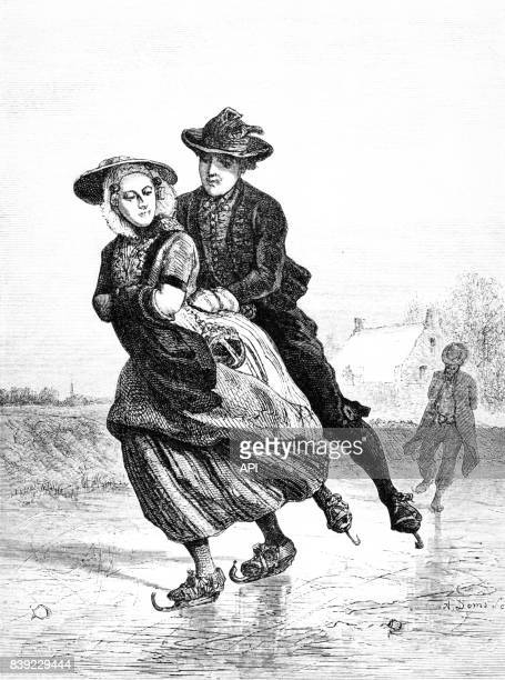 Couple faisant du patin à glace en 1885