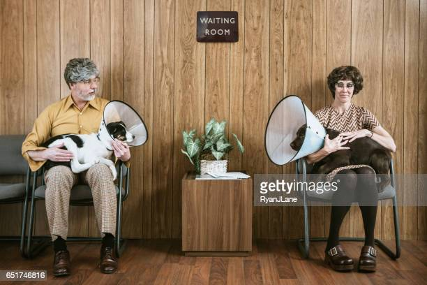 couple flirting at veterinarian with their dogs - elizabethan collar stock photos and pictures