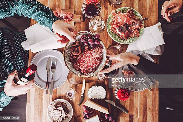 couple friends having a nice dinner - tapas stock photos and pictures