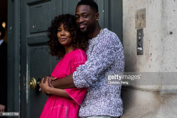 Couple Gabrielle Union and Dwyane Wade hugging outside Hermes during Paris Fashion Week Menswear Spring/Summer 2018 Day Four on June 24, 2017 in...