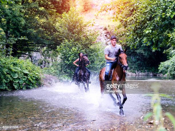 Paar Galopps Pferd durch Strom