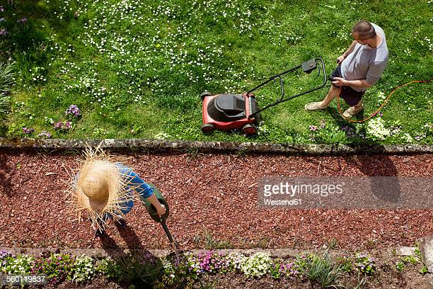 Couple gardening in spring