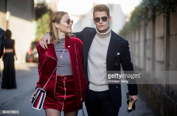 Couple Giulia Andrea Gaudino and Frank Gallucci is seen outside Diesel during Milan Men's Fashion Week Fall/Winter 2018/19 on January 13 2018 in...