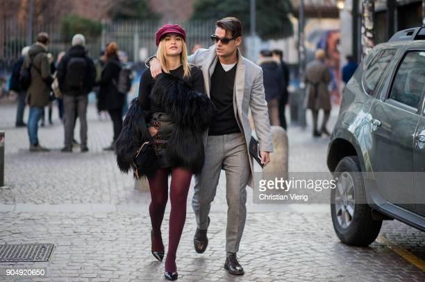 Couple Giulia Gaudino and Frank Gallucci is seen outside Daks during Milan Men's Fashion Week Fall/Winter 2018/19 on January 14 2018 in Milan Italy