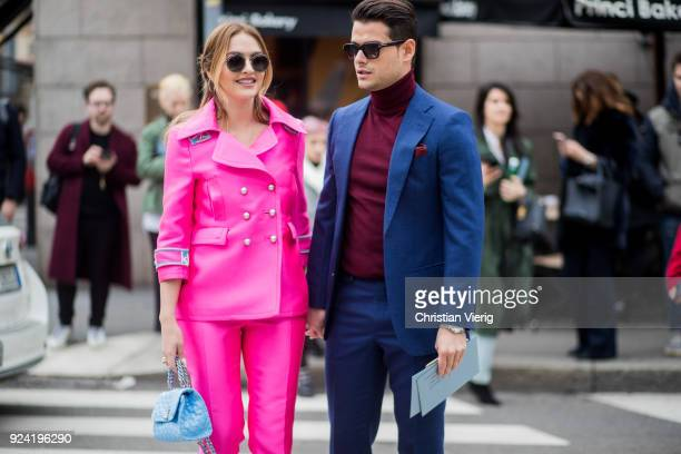 Couple Giulia Gaudino and Frank Gallucci seen outside Ermanno Scervino during Milan Fashion Week Fall/Winter 2018/19 on February 24 2018 in Milan...