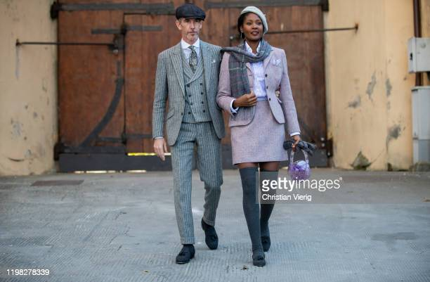 Couple Giullaume Bo and Angelique seen during Pitti Uomo 97 at Fortezza Da Basso on January 08 2020 in Florence Italy