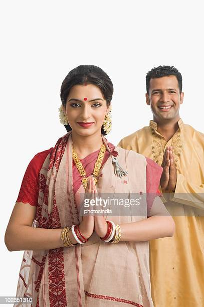 Couple greeting at Durga Puja