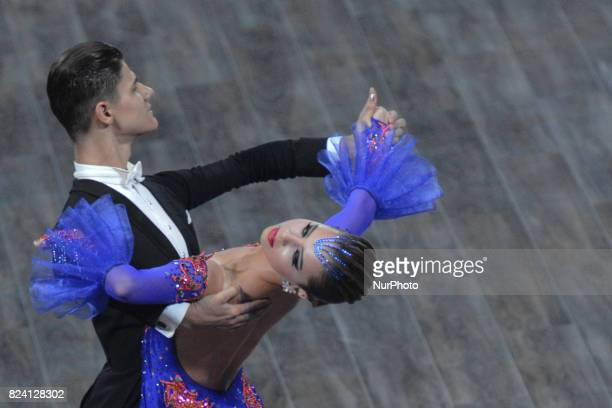 Couple Gumeniuc/Kusnir of Moldavia compete during the Standard couple dance competition, at The World Games 2017, in the Centennial Hall in Wroclaw....