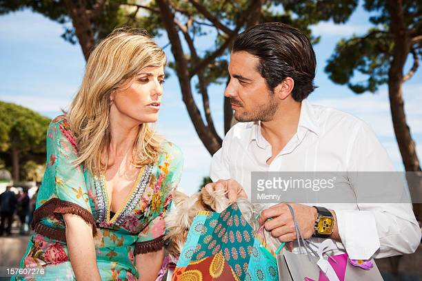 Couple having a discussion after shopping