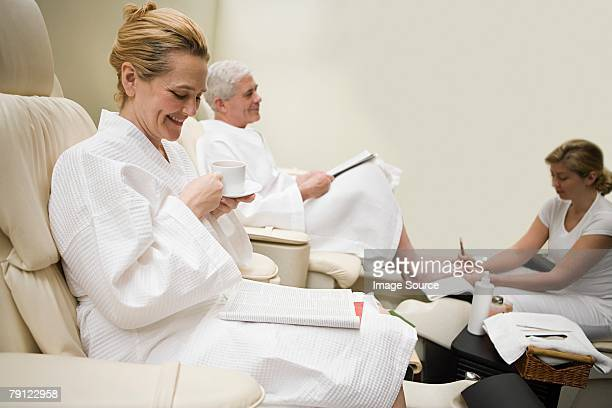 couple having a treatment at a health spa - old lady feet stock pictures, royalty-free photos & images
