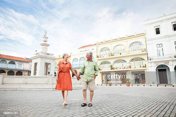 Couple having a walk on the town square