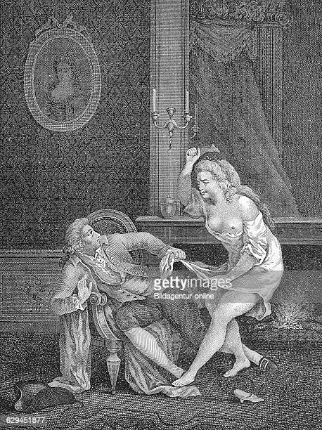 Couple having an argument gallant french engraving by nerbe 1810