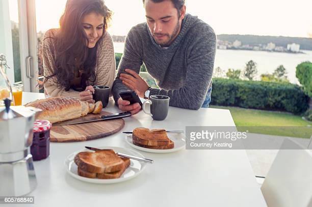 Couple having breakfast.