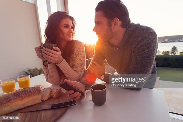 Couple having breakfast.