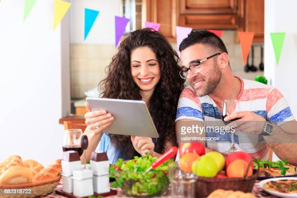 Couple having dinner at home