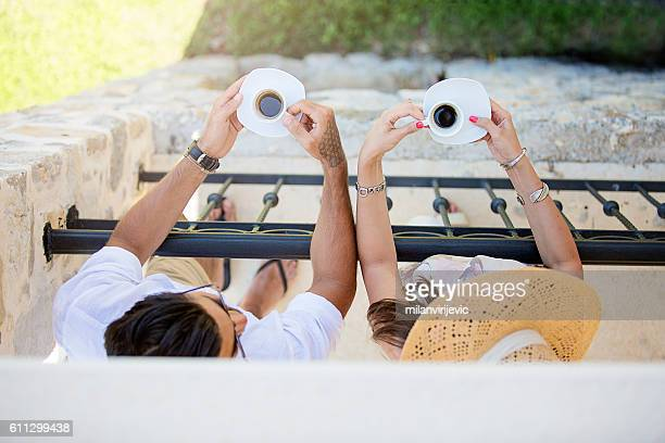 couple having espresso at the terrace - terraced field stock pictures, royalty-free photos & images