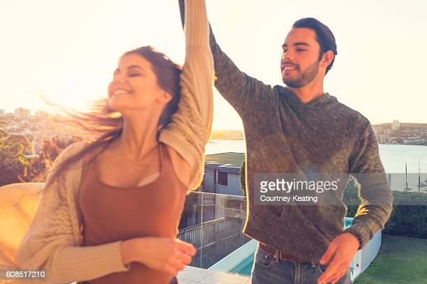 Couple having fun dancing.