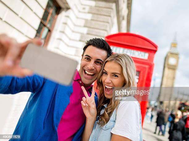 Couple having fun in London