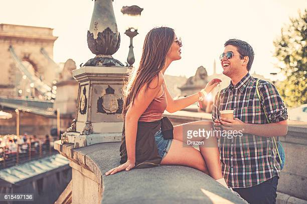 Couple having fun in summer afternoon
