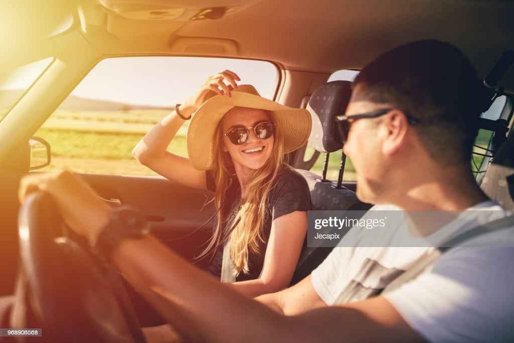 Couple having fun on roadtrip : Stock Photo