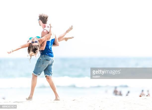 Couple having fun on the LA beach