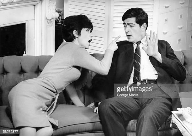 Couple having heated domestic quarrel