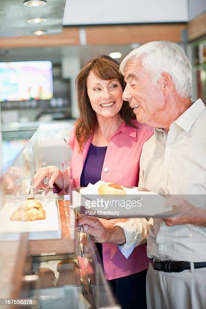 Couple having lunch in cafe