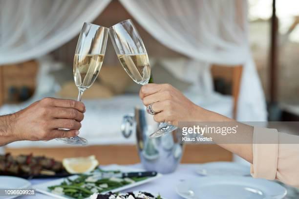 couple having private romantic dinner in luxury cabin - 袖 ストックフォトと画像