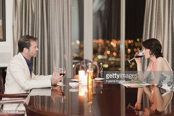 Couple having romantic dinner at home